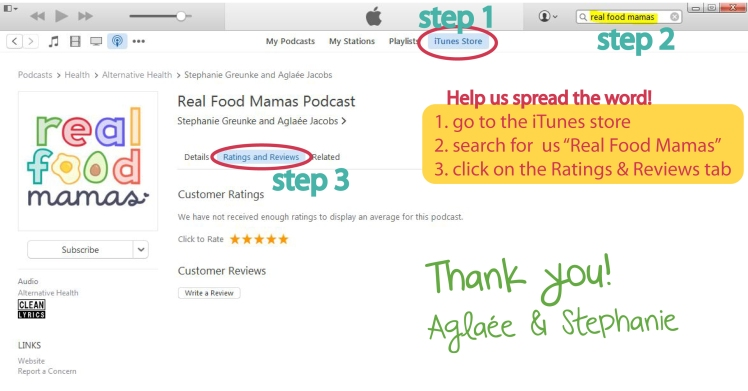 Real Food Mamas podcast on iTunes